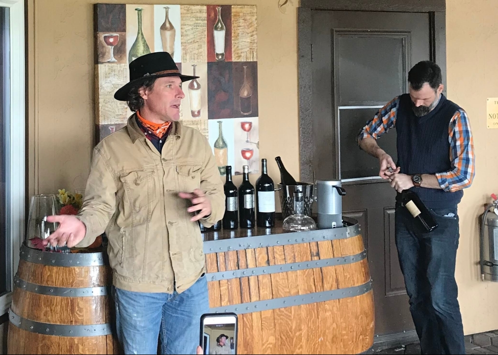Winemaker Caleb Foster (L) and Tasting Room Concierge Ryder Langley