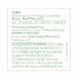 Ciro Rosso Label Back