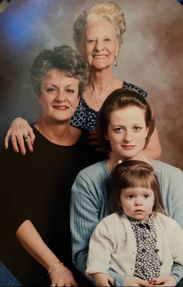 Four generations with my oldest daughter, 1995